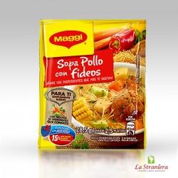 Zuppa di Pollo con Pasta, Sopa de Pollo con fideos, Maggi